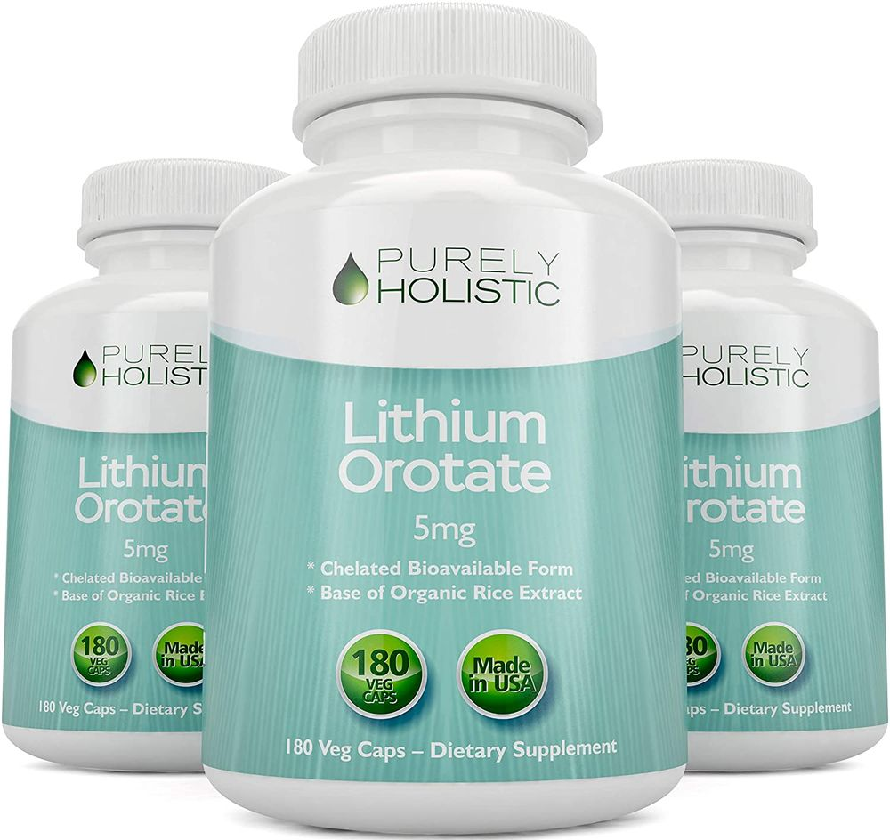 Lithium Orotate 5mg, 180 Vegetarian Lithium Capsules, Lithium Supplement Supports Healthy Mood, Behavior, Memory and Wellness