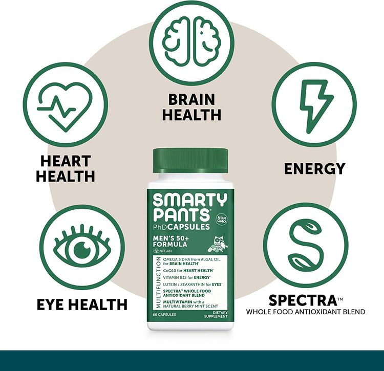 SmartyPants Multivitamin for Men 50+: Vitamin D, C, D3, E, B12 for Energy, Zinc for Immunity, COQ10, Omega 3 DHA, Iodine, Lutein, Folate, Vegan, 60 Capsules (30 Day Supply)