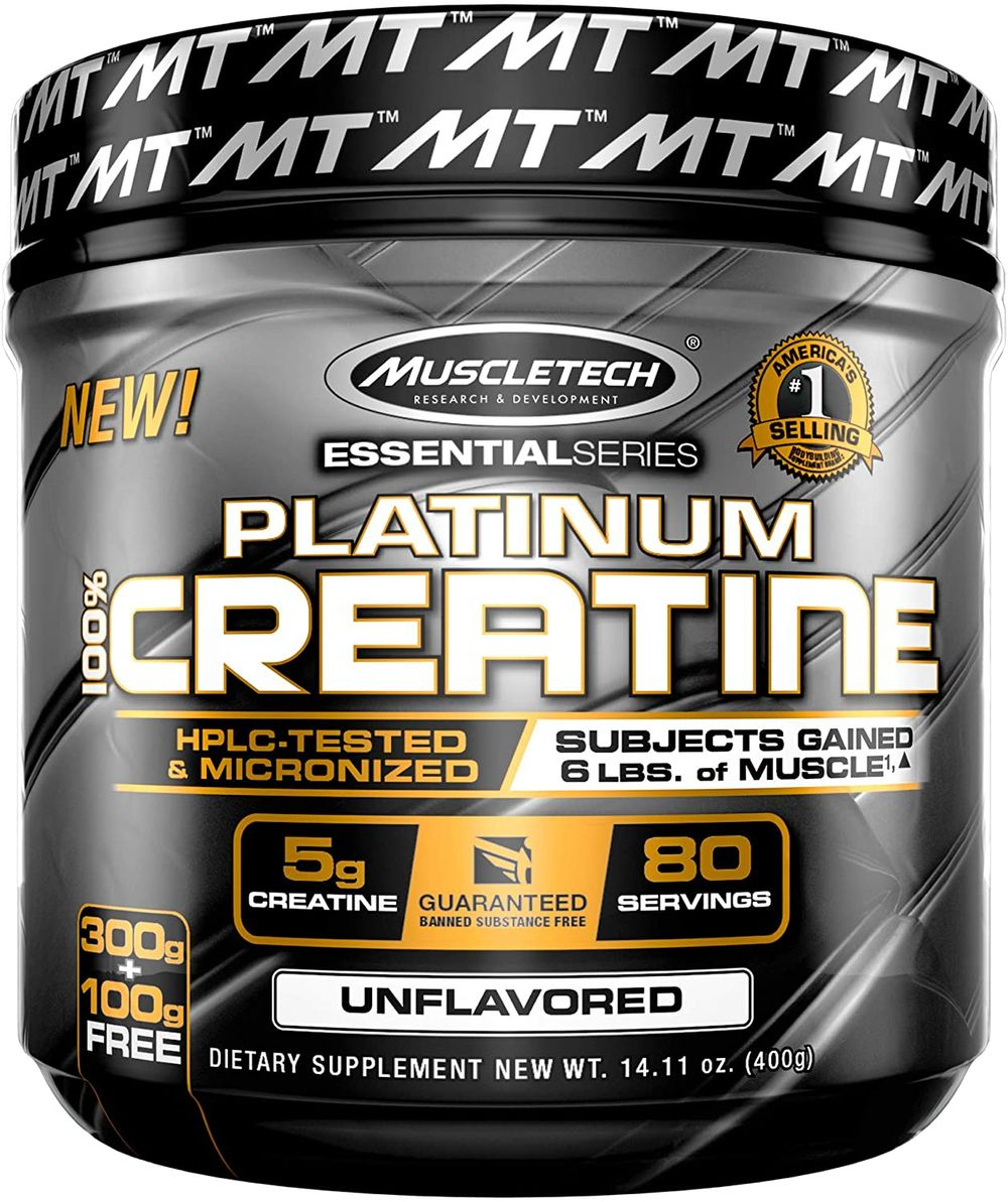 MuscleTech Platinum Creatine Monohydrate Powder, 100% Pure Micronized Creatine Powder for Men and Women, Easy to Mix, Unflavored, Pre-Workout or Post-Workout, Keto Friendly, 14.1 oz (80 Servings)