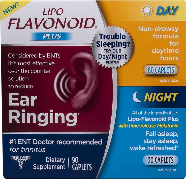 Lipo-Flavonoid Day and Night Combo Kit | Contains #1 ENT Doctor Recommended Lipo-Flavonoid Plus and Lipo-Flavonoid Night with Melatonin to Help Tinnitus Sufferers Sleep | 90 Caplets
