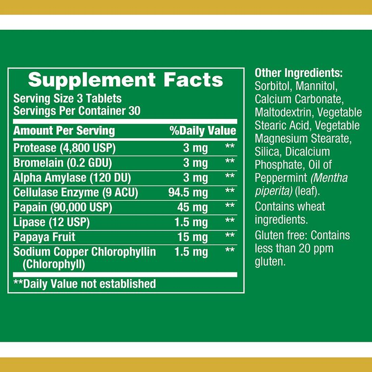 Super Papaya Enzyme by Nature's Bounty, Herbal Supplement, Supports Digestive Health, Mint Flavor, 45mg, 90 Chewable Tablets