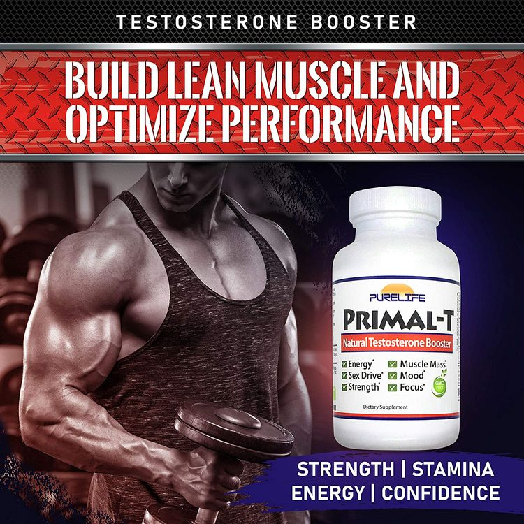 Purelife Primal-T – Natural Testosterone Booster for Men - Male Enhancing Supplement to Boost