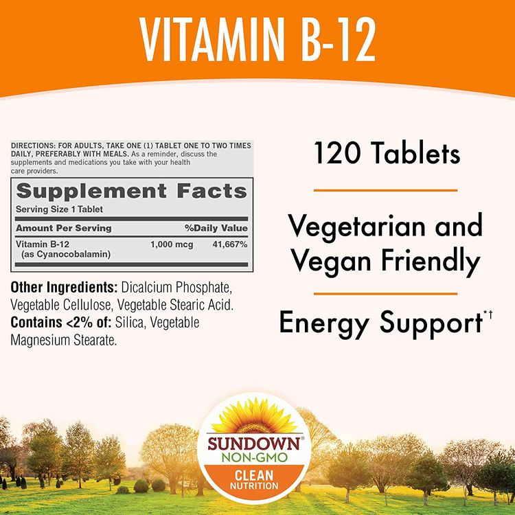 Sundown Vitamin B-12, Energy Support*, Vegetarian, Vegan-Friendly 1000 mcg, 120 Time Release Tablets (Pack of 1) Non-GMOˆ, Free of Gluten, Dairy, Artificial Flavors