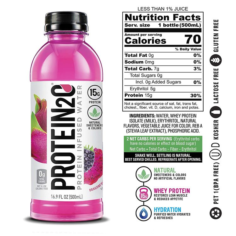 Protein2o Protein Infused Water, 15g Whey Protein Isolate, Dragonfruit Blackberry (16.9 Oz, Pack Of 12)