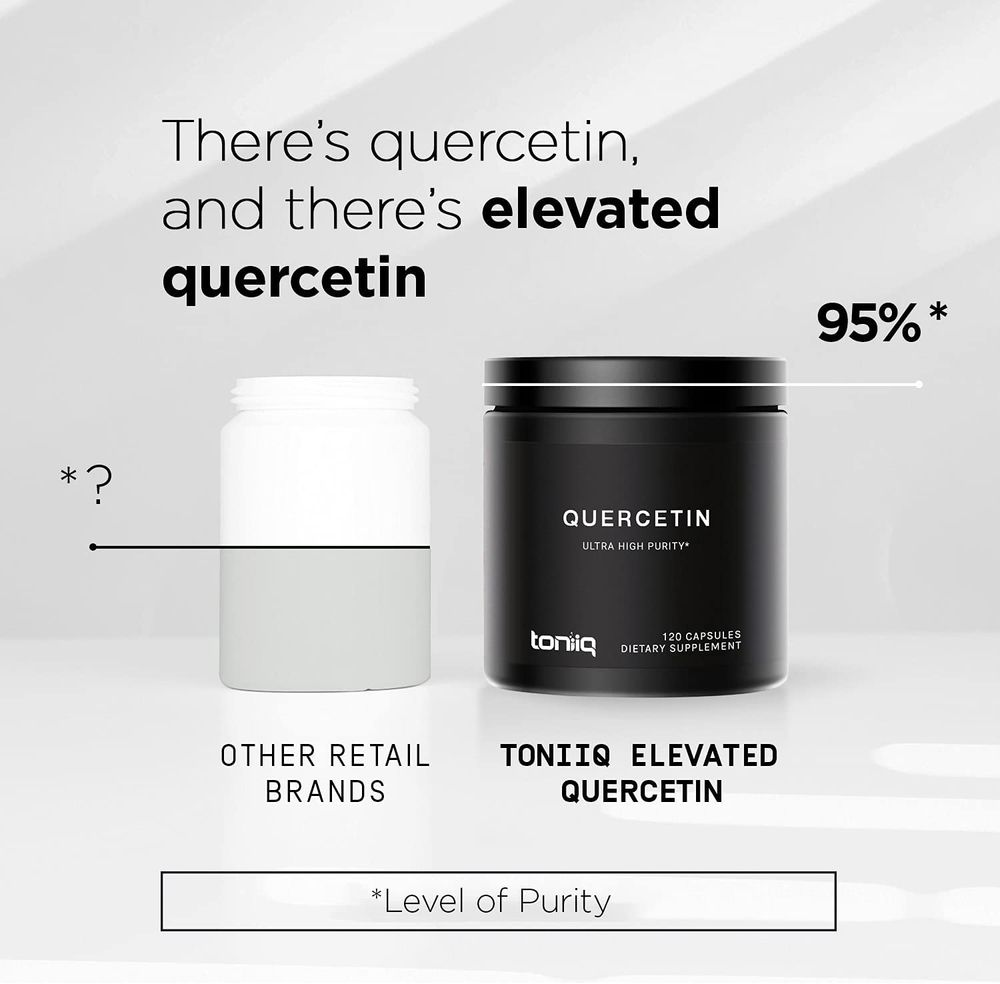 Ultra High Purity Quercetin Capsules - 95%+ Highly Purified and Highly Bioavailable - 1000mg Per Serving - 120 Capsules Quercetin Supplement