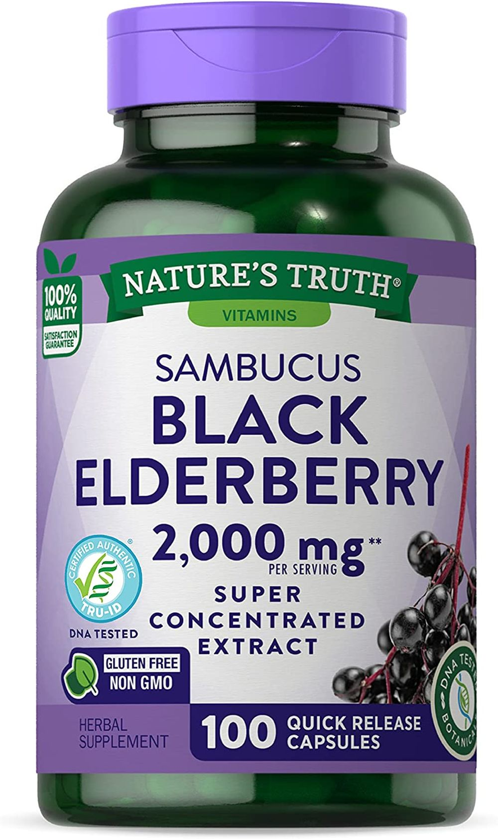 Nature's TruthBlack Elderberry Capsules 1000mg | 100 Count | Super Concentrated Sambucus Extract | Non-GMO, Gluten Free | by Nature's Truth, 100 Count