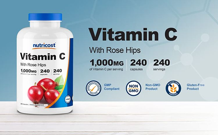 vitamin c with rose hip capsules dietary supplement by Nutricost