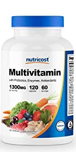 Nutricost Multivitamin with Probiotics, Enzymes , and Antioxidants 1300mg