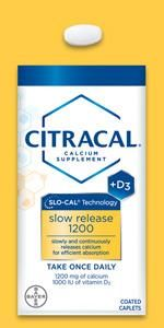 Citracal Slow Release once daily caplet natural sugar free calcium citrate carbonate vitamin D +d3