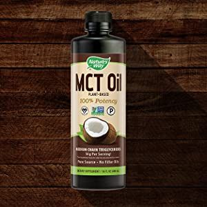 Nature's Way MCT Oil on wooden background