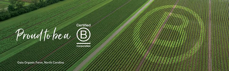 """Photo of Gaia Herbs Organic Farm with """"Proud to be a Certified B-Corporation"""" text graphic"""