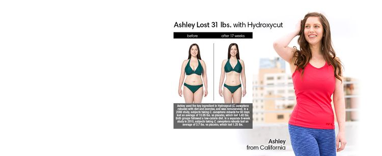 Ashley lost 31 lbs. with Hydroxycut in 17 weeks.