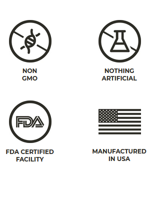 non gmo, nothing artificial, fda certified, manufactured in USA